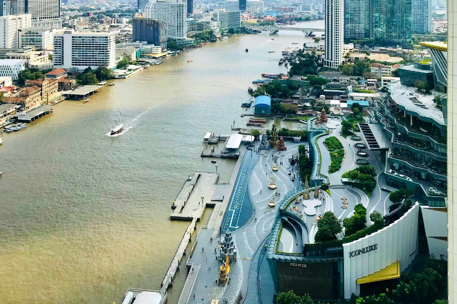 ICONSIAM seen from above with its squares overlooking the Chao Phraya River in Bangkok