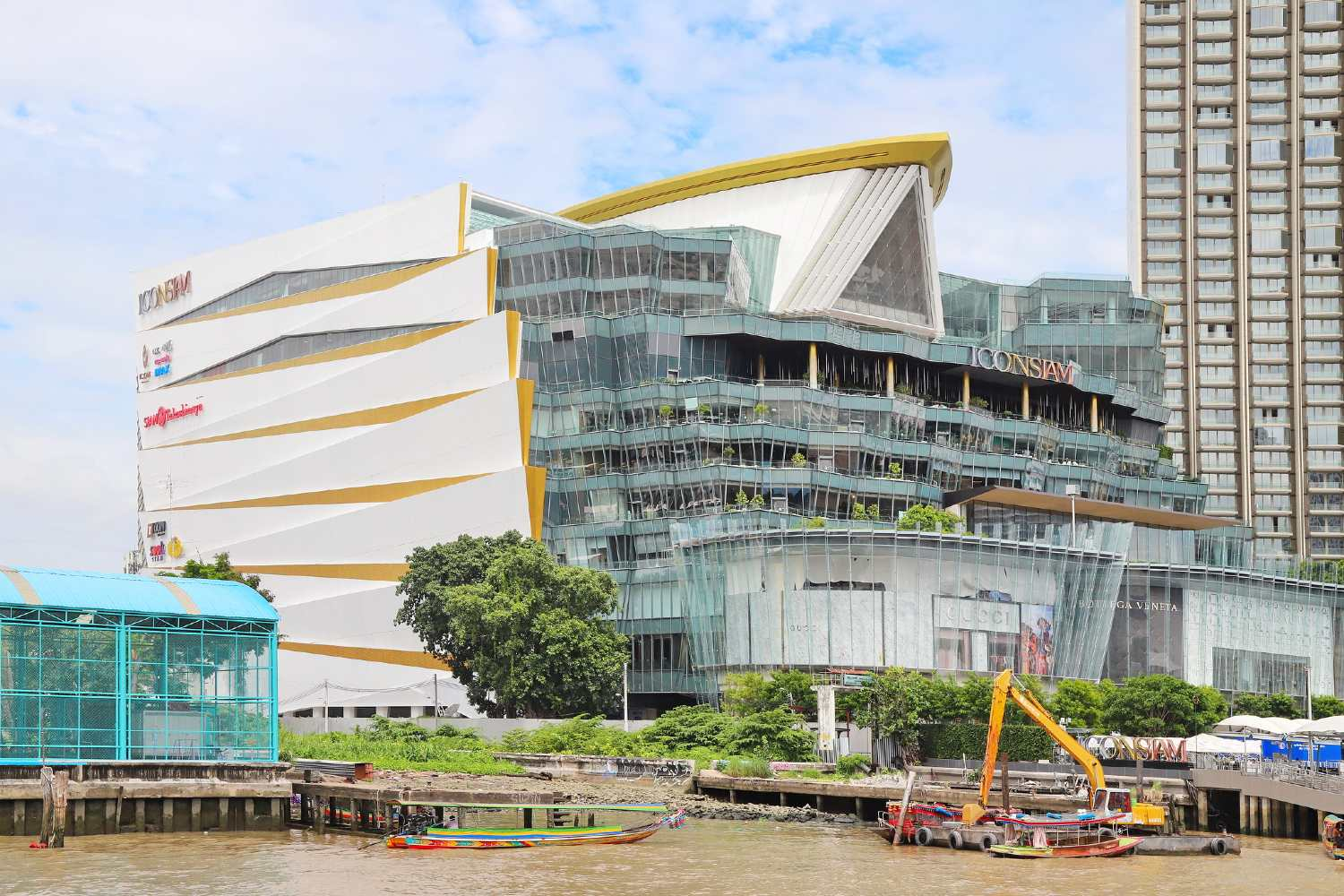 ICONSIAM on the Chao Phraya River in Bangkok seen from above