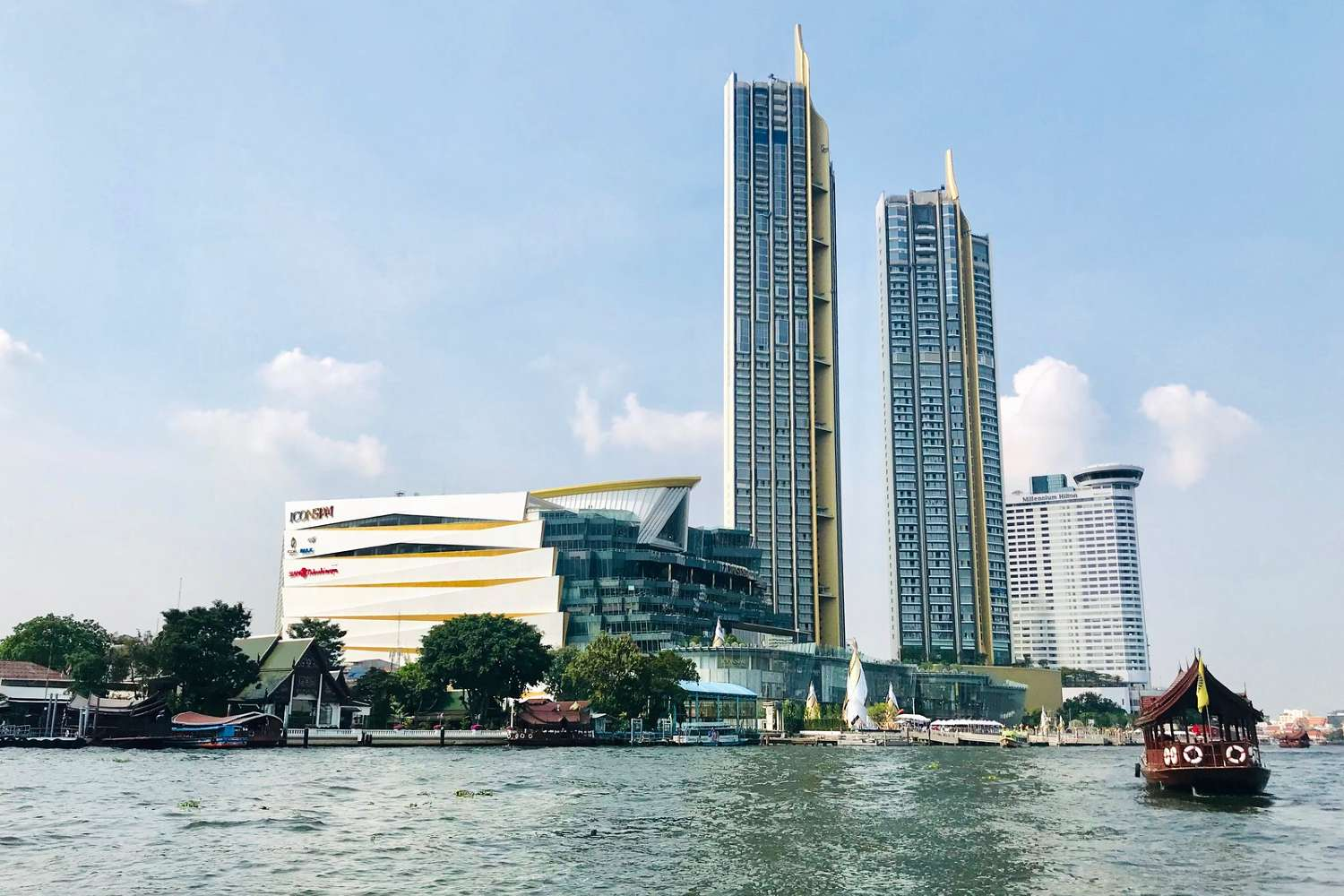 ICONSIAM on the Chao Phraya River in Bangkok seen from afar