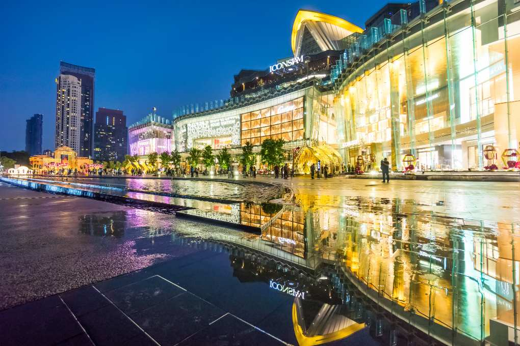 The front of ICONSIAM with water show seen from the Chao Phraya River in Bangkok