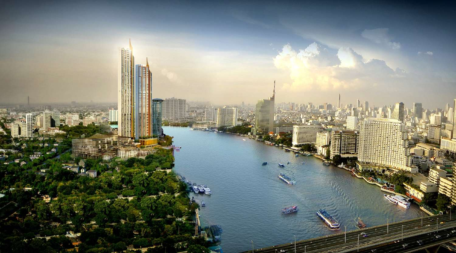 The two residential towers on the ICONSIAM site on the Chao Phraya River in Bangkok
