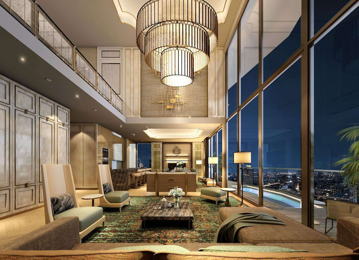Woonkamer van de Heritage Penthouse Suites van The Residences at Mandarin Oriental naast ICONSIAM in Bangkok