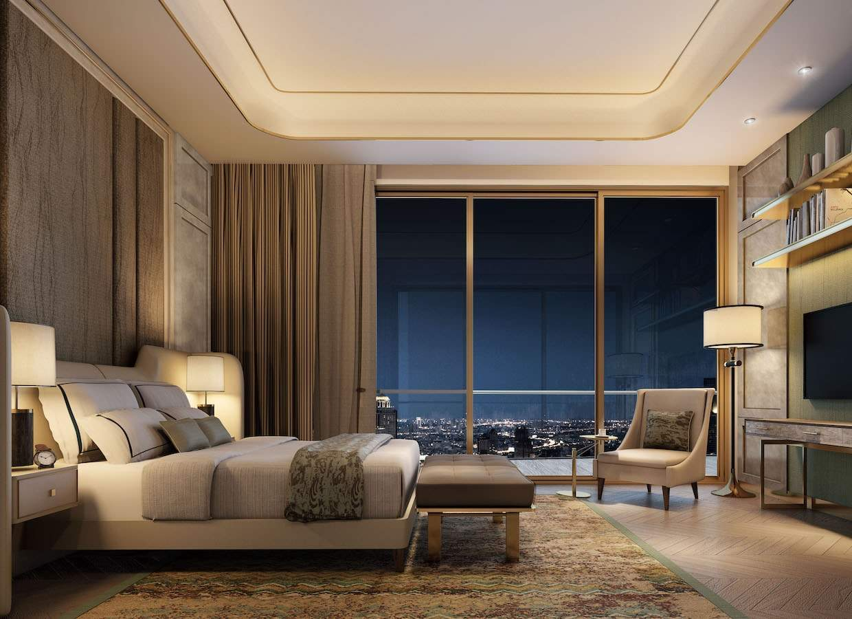 Slaapkamer van de Heritage Penthouse Suites van The Residences at Mandarin Oriental naast ICONSIAM in Bangkok