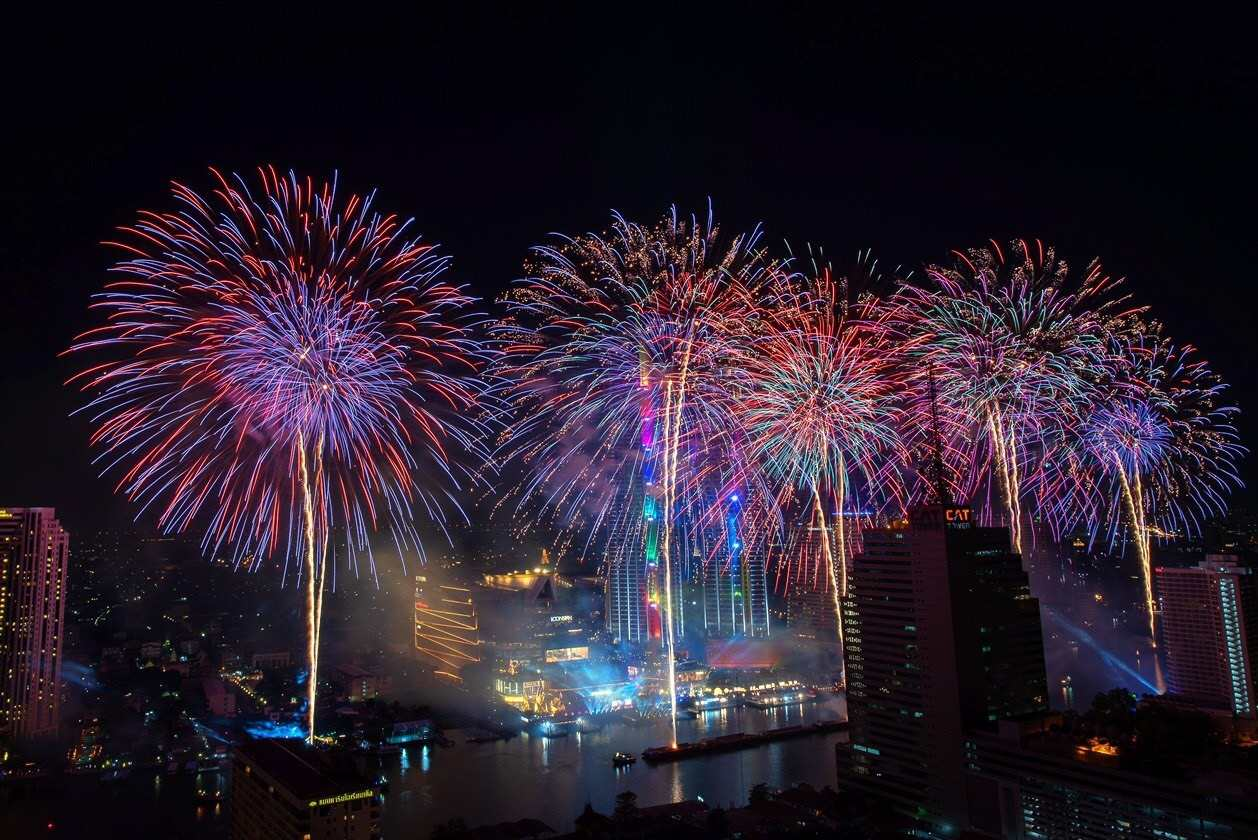 Fireworks show during New Year's Eve at ICONSIAM in Bangkok