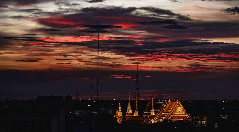 Wat Pho during sunset in Bangkok