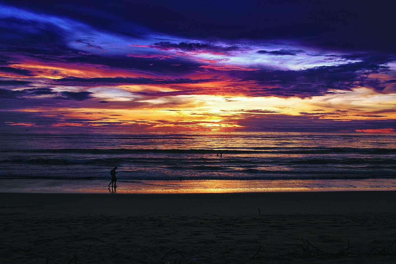 Beautiful sunset on Sunset Beach at Khao Lak