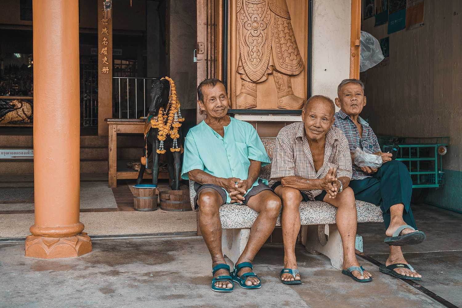 Old Town Takua Pa Khao Lak, 3 old men in a row