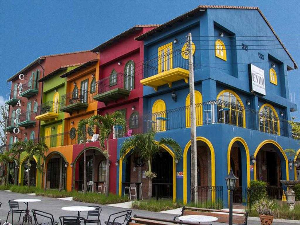 Exterior of the colorful Casacool Hotel in Khao Lak