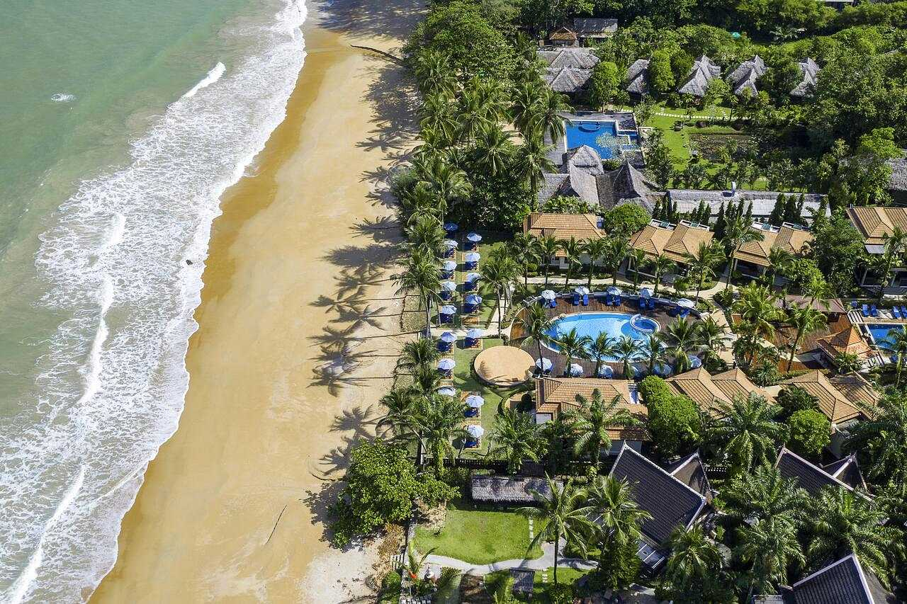 Aerial view of the Sunset Beach Khao Lak bay front resort on the beach