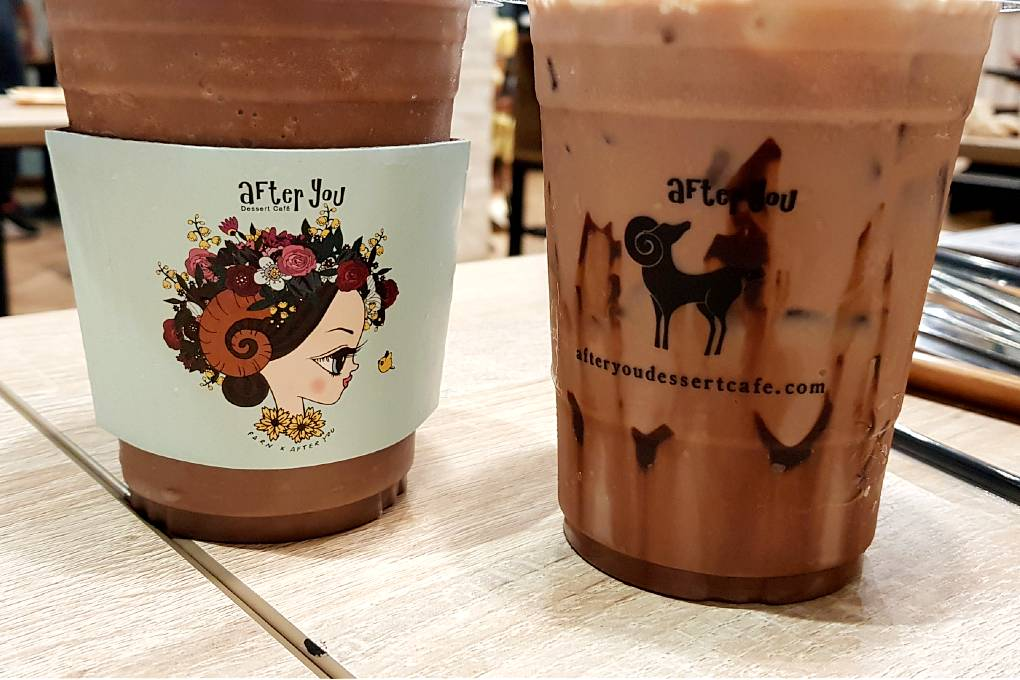 Iced coffee and chocolate drink at After You in ICONSIAM, Bangkok