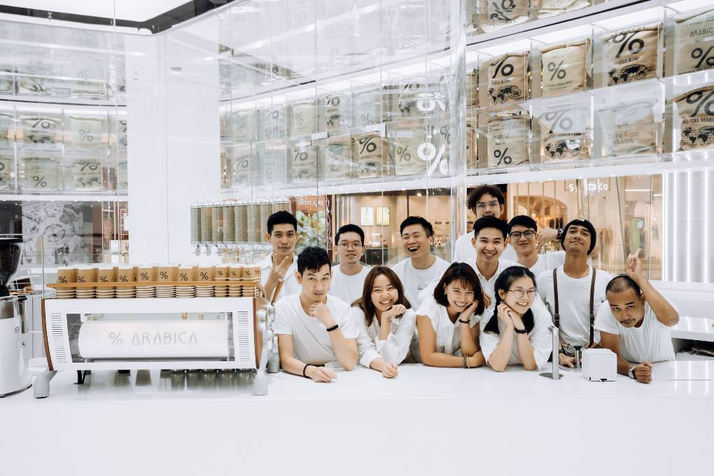 The team of % Arabica in ICONSIAM, Bangkok