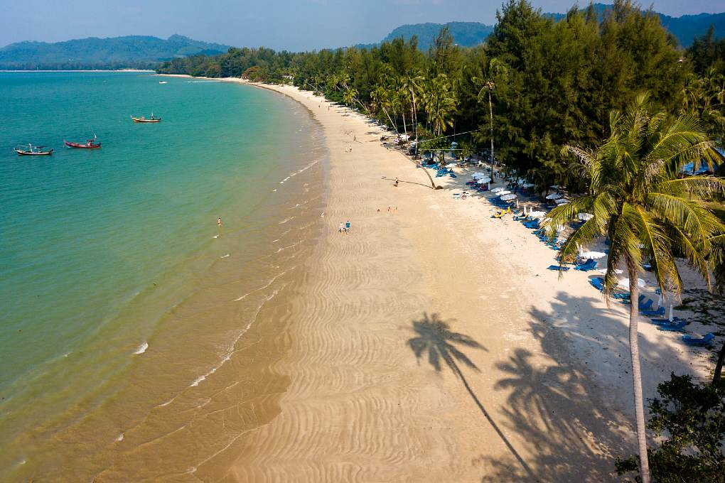 Overview of beaches Khao Lak surrounded by palm trees