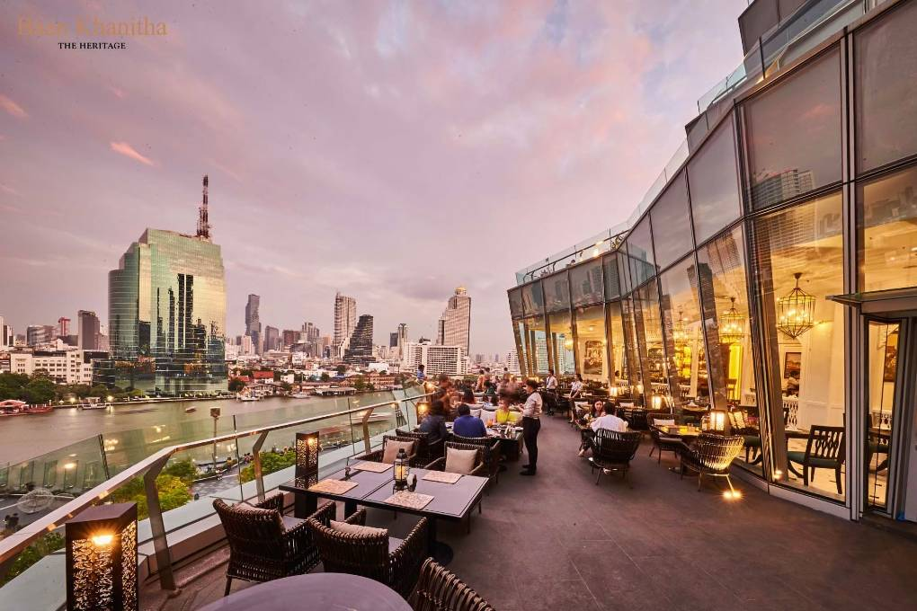 The terrace of Baan Khanitha The Heritage in ICONSIAM, Bangkok