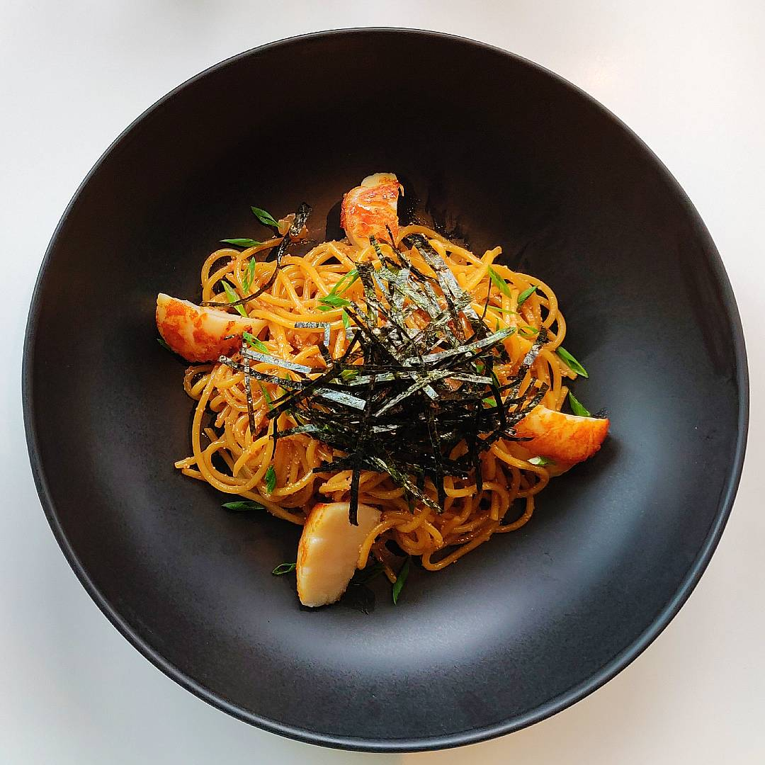Mentaiko Spaghetti at D'ARk in The Veranda of ICONLUXE, part of ICONSIAM in Bangkok, Thailand.