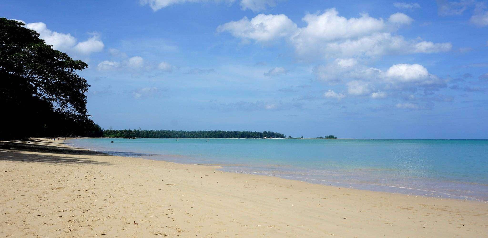 White Sand Beach and Coconut Beach, elongated white beach with blue sea