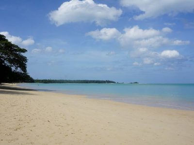 White Sand Beach And Coconut Beach, Elongated White Beach With Blue Sea, Khao Lacquer
