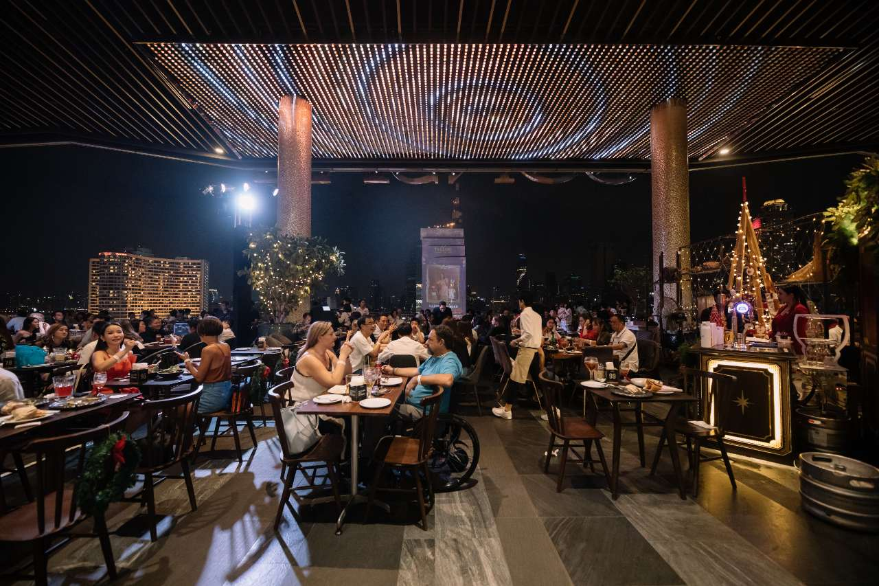 The terrace of HOBS on the Tasana Nakorn terrace of ICONSIAM in Bangkok