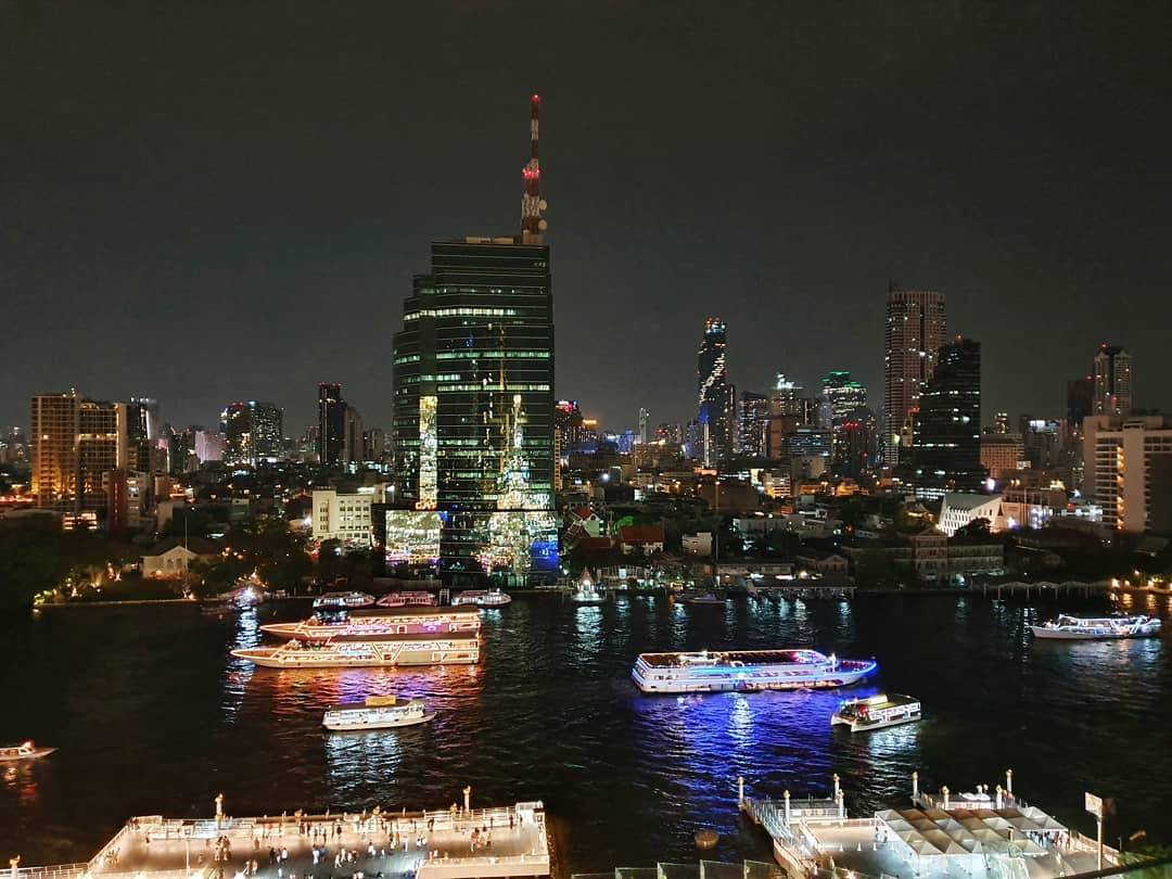 The skyline of Bangkok in the evening as seen from the Tasana Nakorn terrace of ICONSIAM in Bangkok.