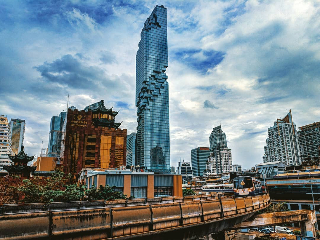 The King Power MahaNakhon with the BTS in the foreground
