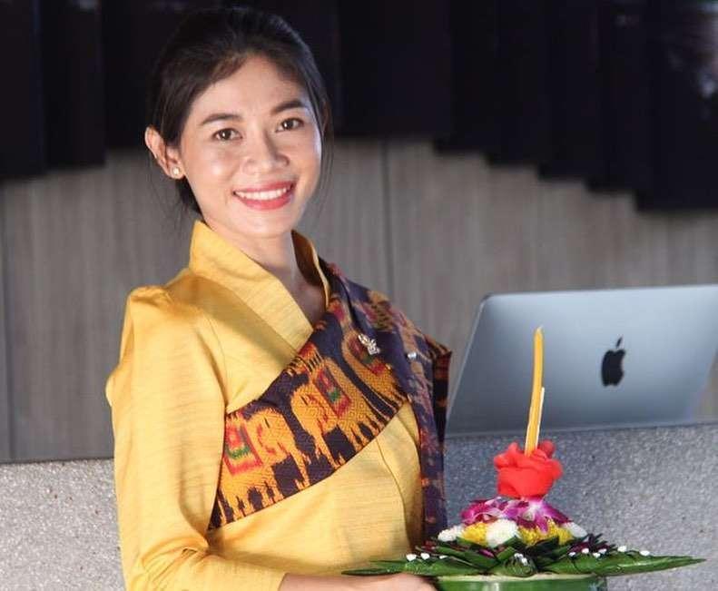 Girl with krathong in her hands during Loy Krathong 2020 in Thailand Krathong 2020 in Bangkok