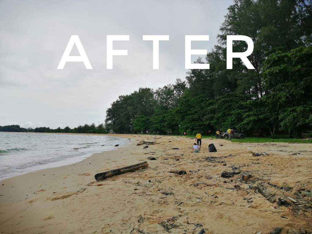 After cleaning on a beach in the Sirinat Natioanl Park on Phuket
