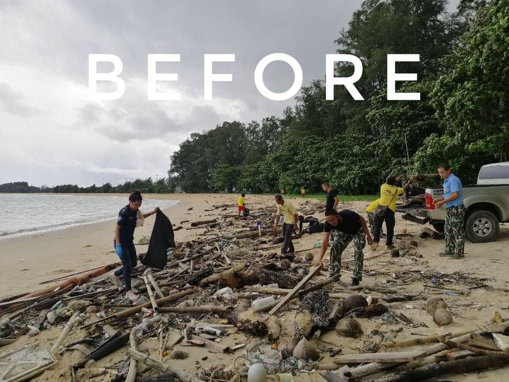 Before cleaning on a beach in the Sirinat Natioanl Park on Phuket
