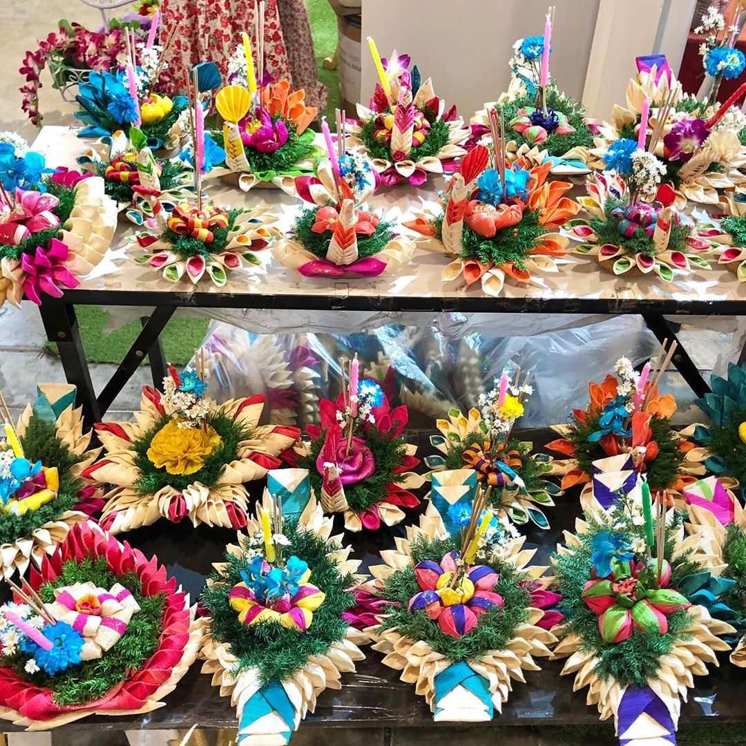 Several beautifully decorated krathongs during Loy Krathong in 2020