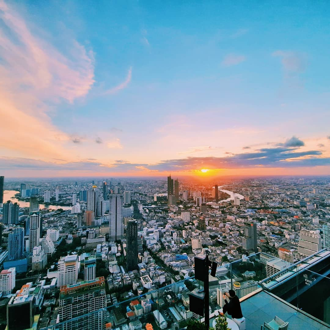 Sunset seen from the King Power MahaNakhon in Bangkok