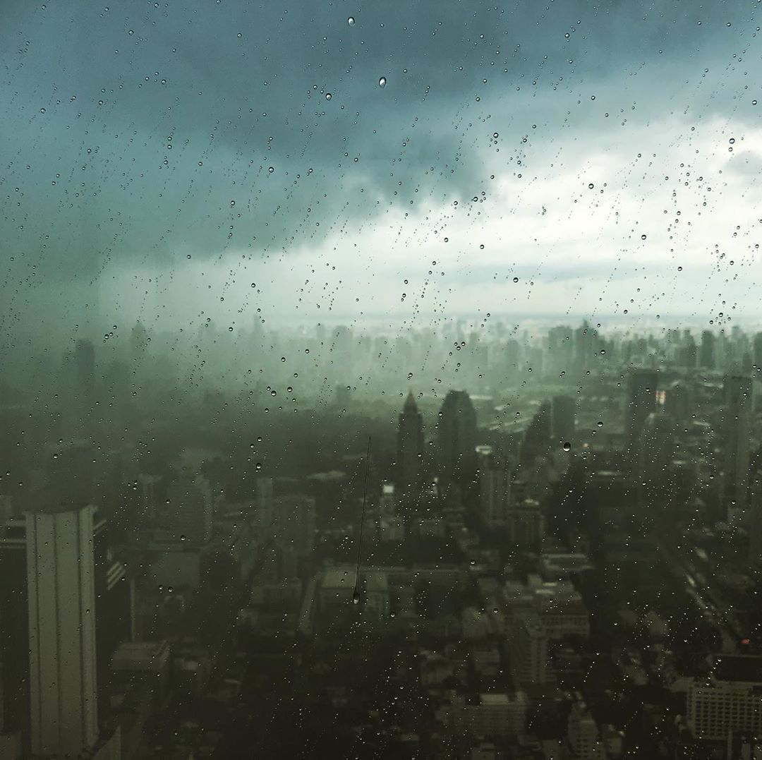 View from the King Power Mahanakhon building in Bangkok during a heavy rainstorm, Thailand
