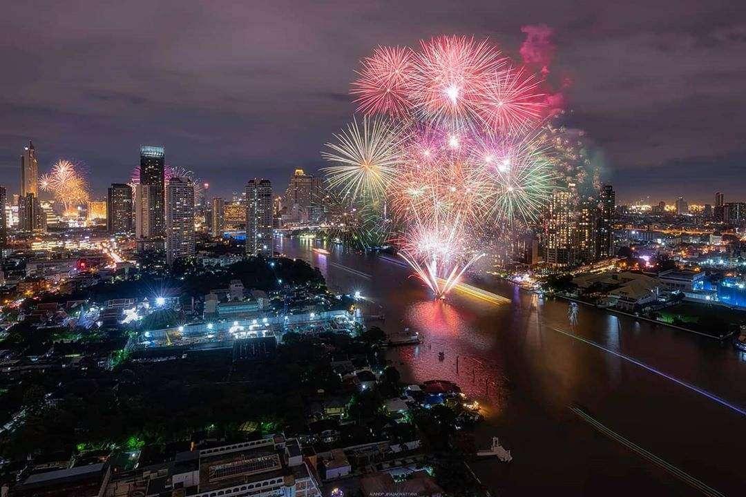 Fireworks during Loy Krathong 2020 in Bangkok