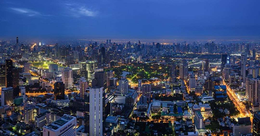 View from the King Power Mahanakhon building in Bangkok during the evening, Thailand