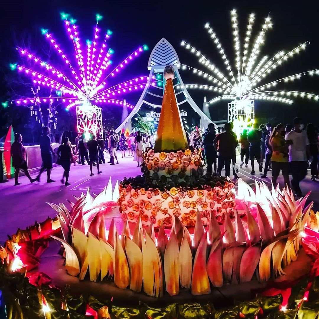 Neon lights during Loy Krathong 2020 in Koh Samui