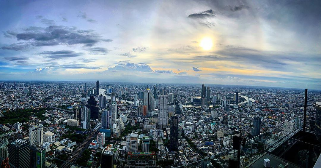 Sunset view from the King Power Mahanakhon building in Bangkok at sunset, Thailand