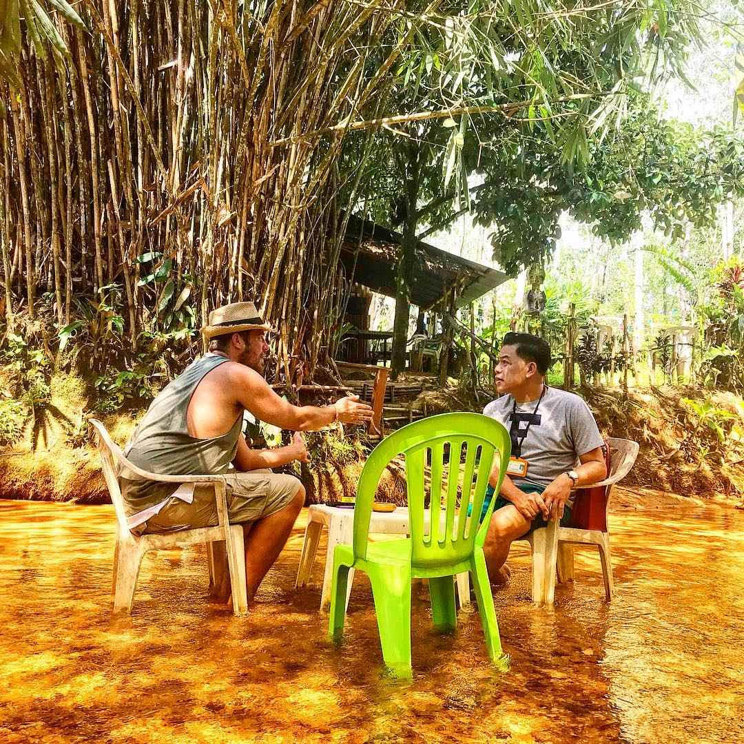 Eating with your feet in the water at the Klong Koo Restaurant in Khao Lak