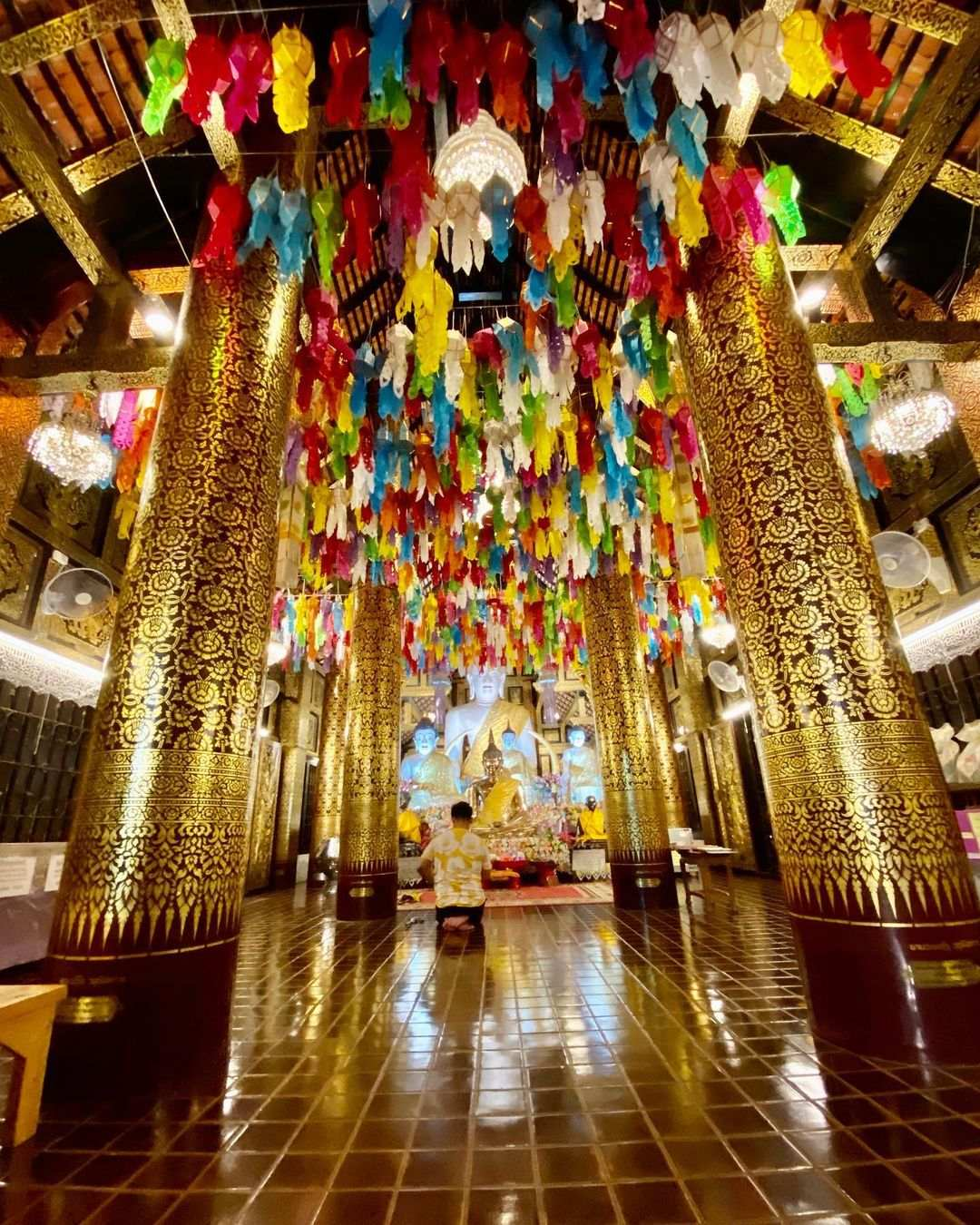 A decorated temple during Yee Peng Festival 2020 in Chiang Mai, Thailand