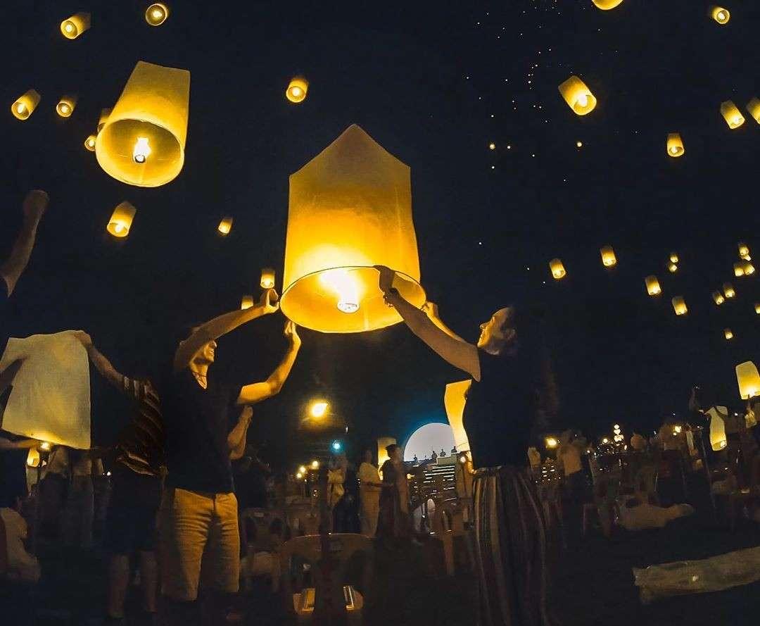 Burning lanterns during Yee Peng Festival 2020 in Chiang Mai