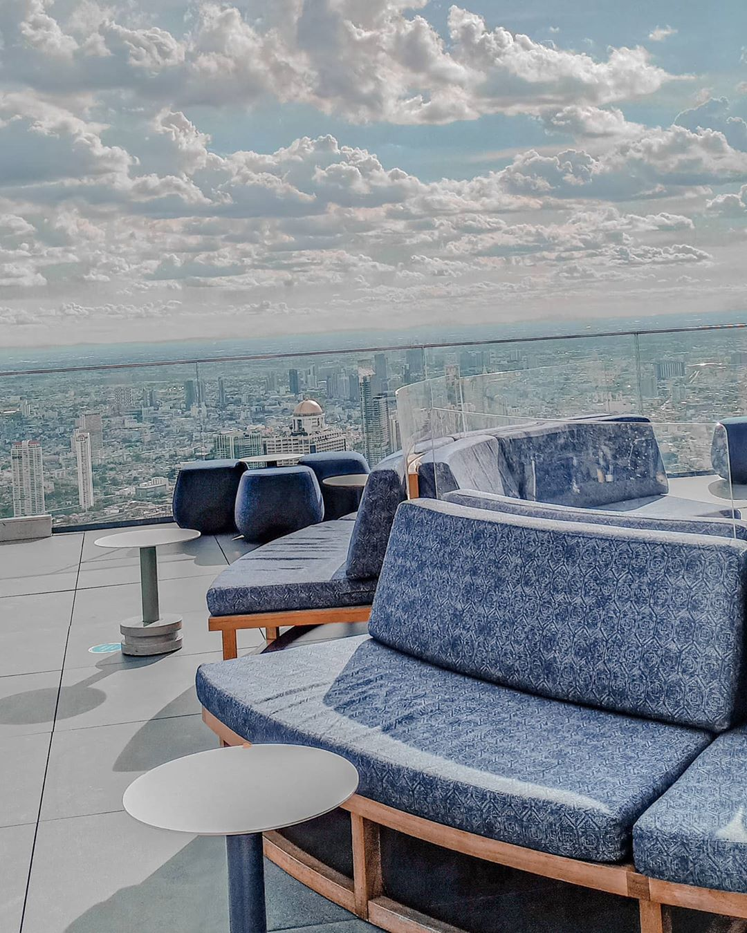 Benches on the roof of the King Power MahaNakhon in Bangkok