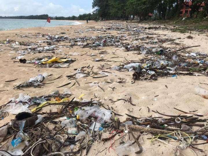 Plastic junk on a beach in Sirinat National Park