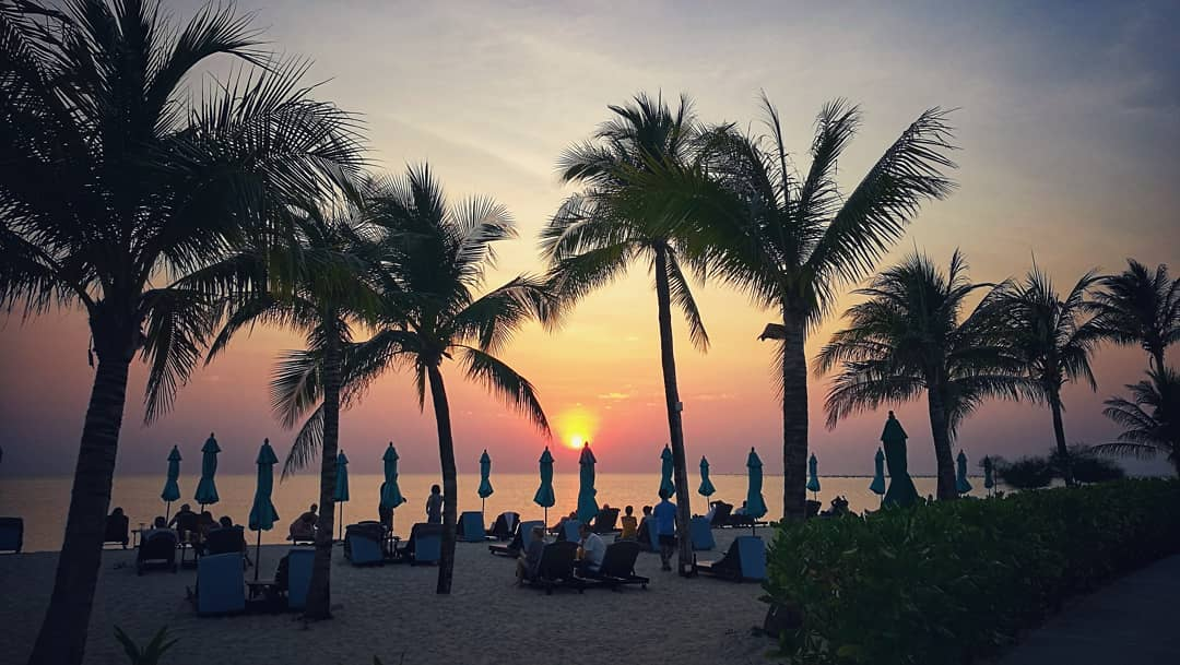 Sunset on Bang Sak Beach in Khao Lak