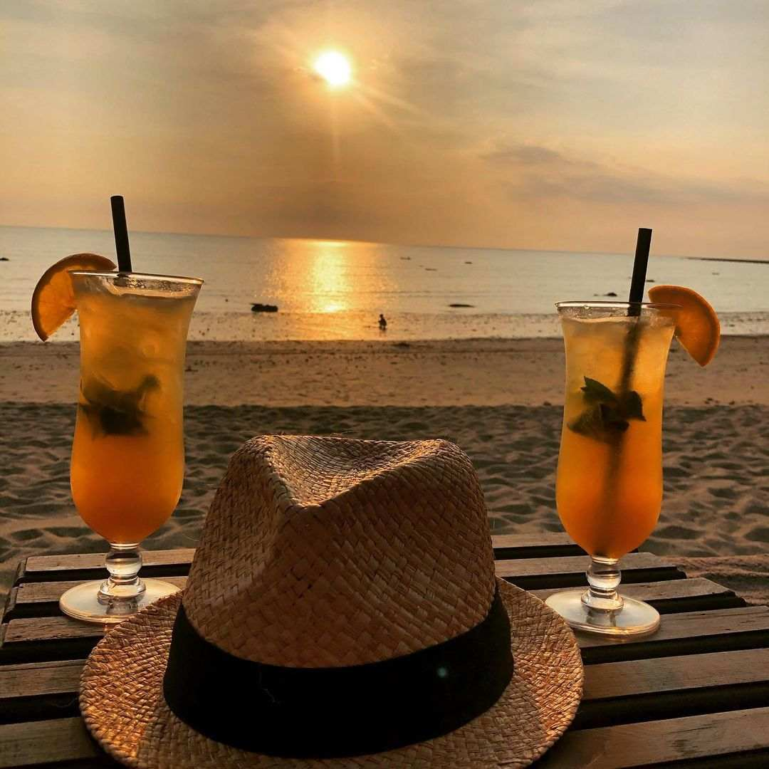 Cocktails on the beach of Bang Sak in Khao Lak
