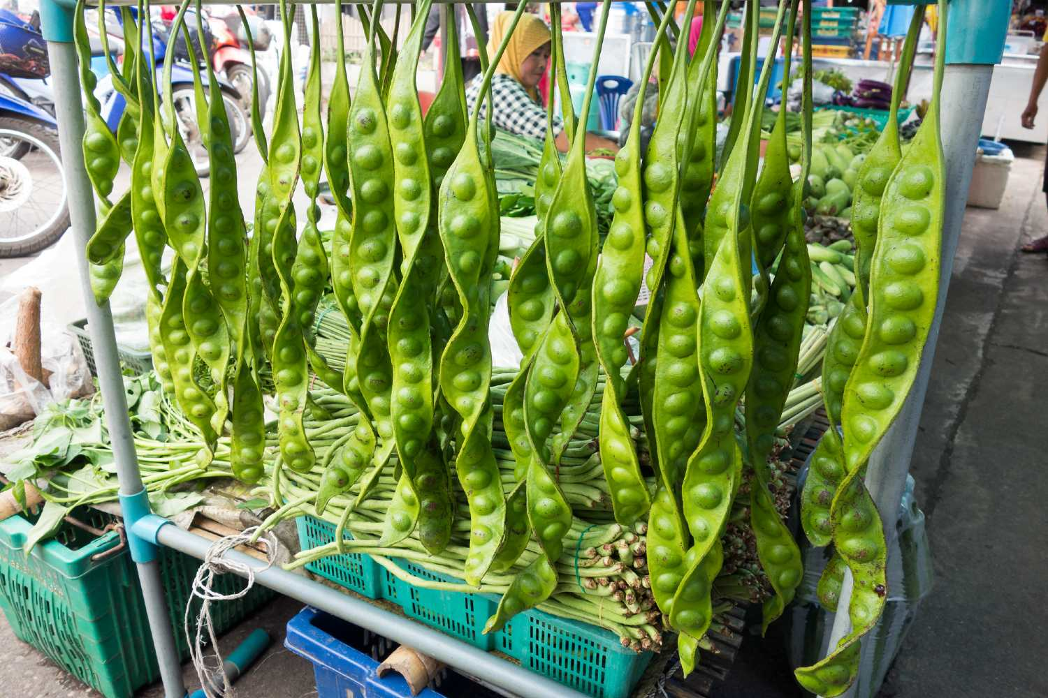 Stink beans on the market in Phang Nga Town