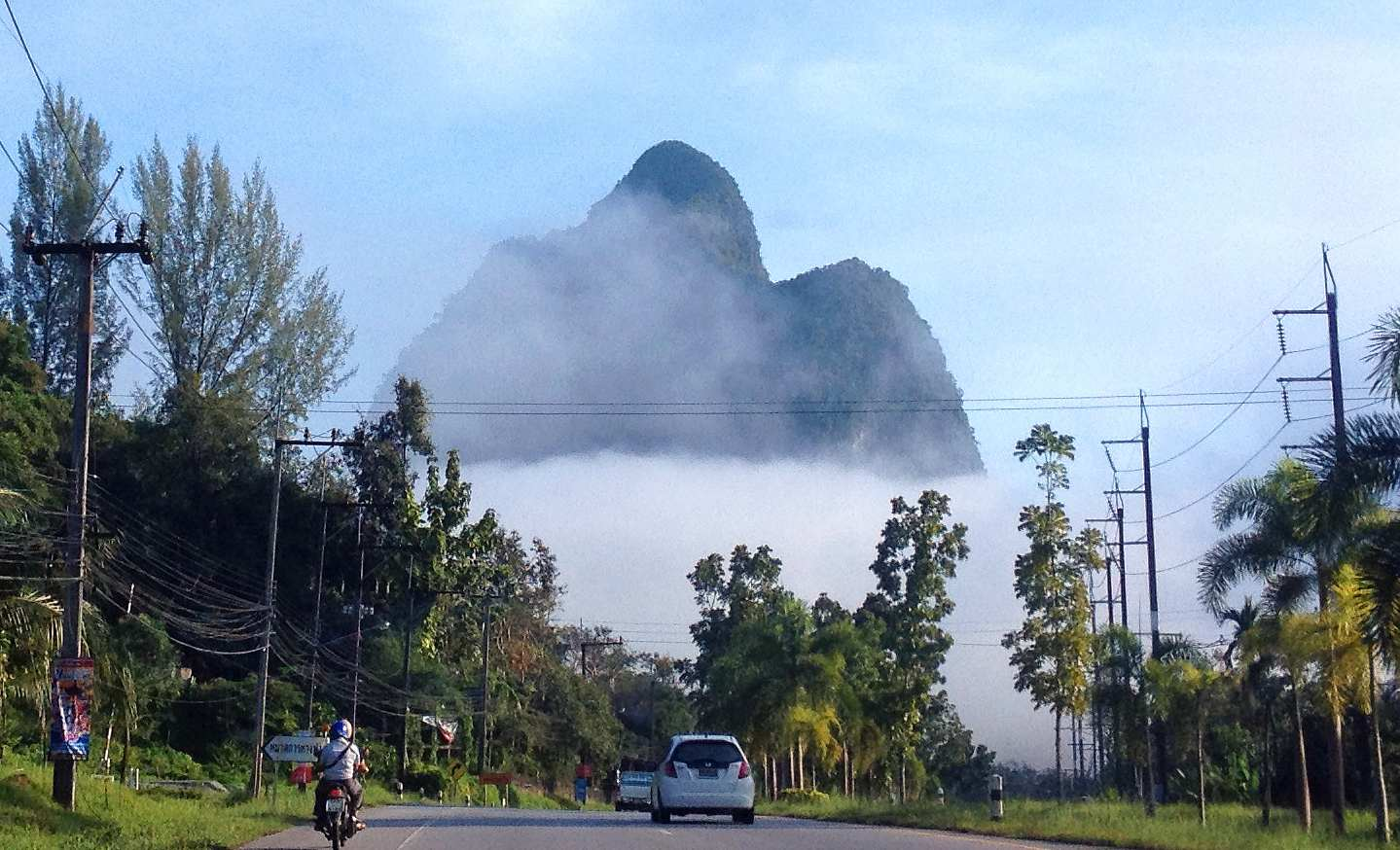 high mountains surrounded by clouds in Phang Nga Town, Thailand
