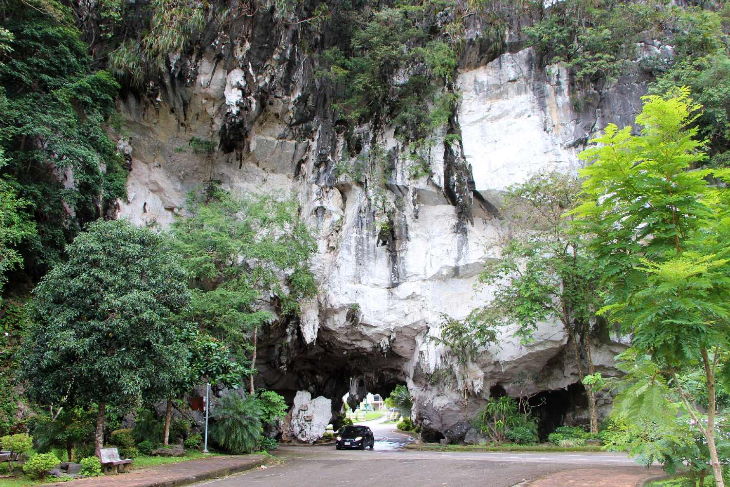 Cave with opening on the road in Phang Nga Town