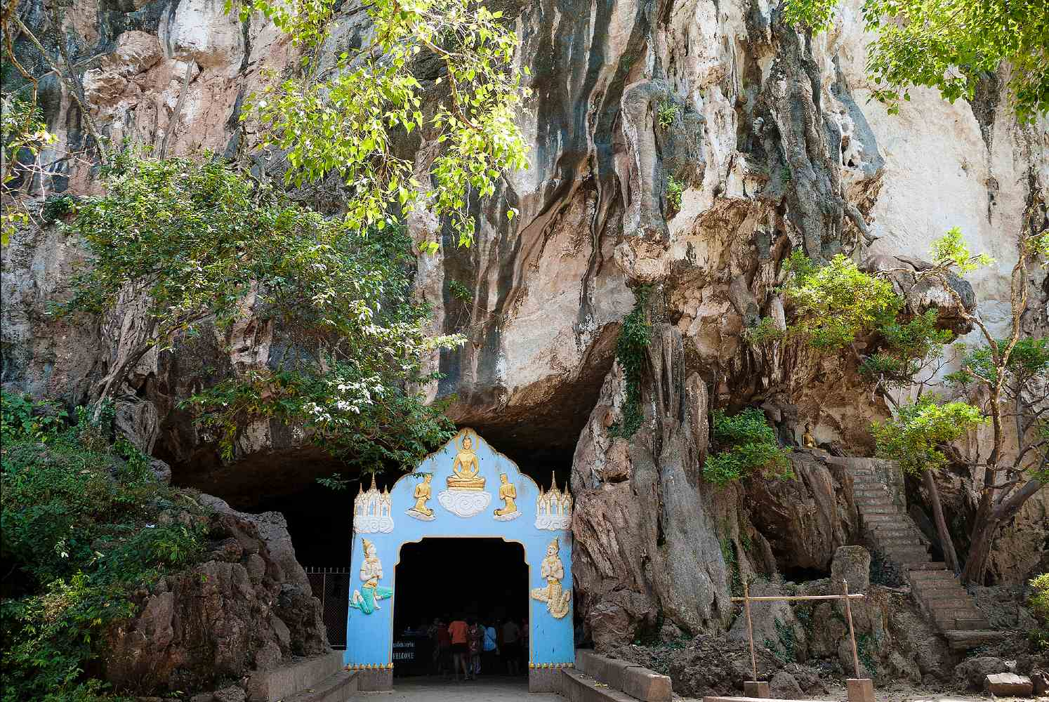 Opening in cave to the reclining Buddha