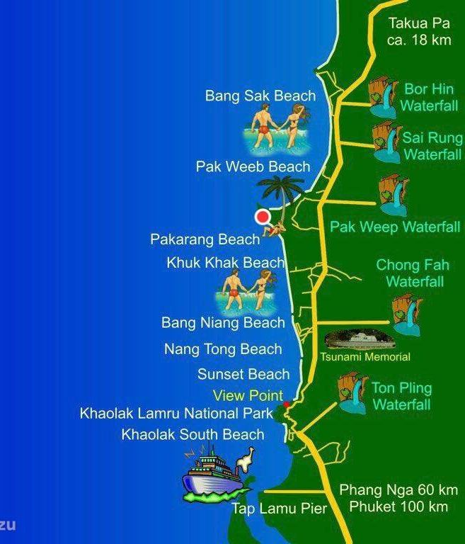 Map with beaches of Khao Lak. Phang Nga in Thailand