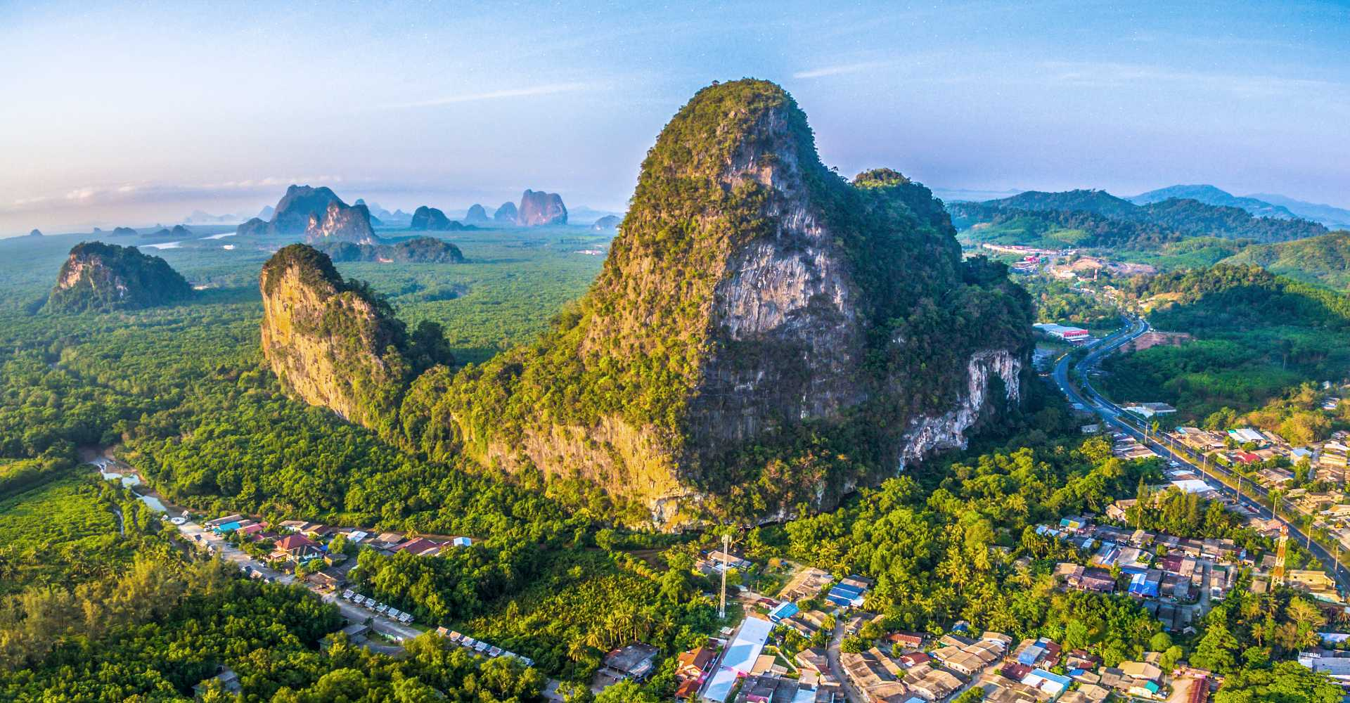 Phang Nga Town aerial view of giant rock and the village