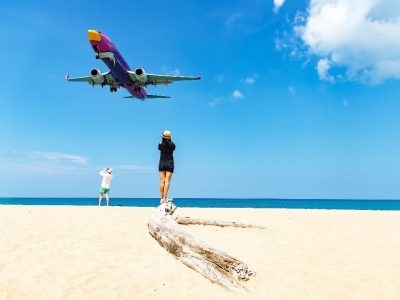 Boeing Airplan Low Above Mai Khao Beach On Phuket