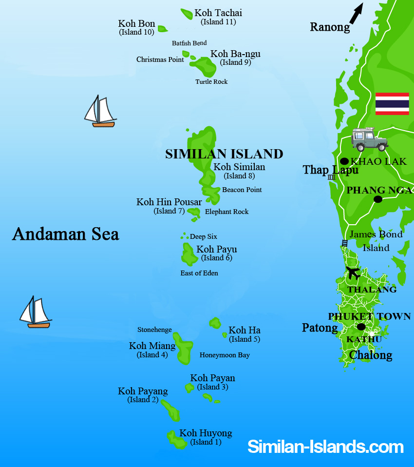 Map of Similan islands in Thailand