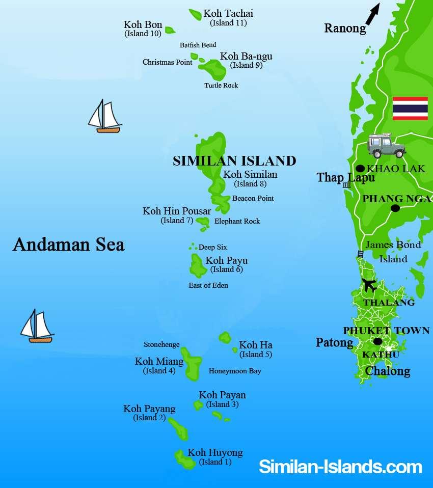 Kaart van Similan eilanden in Thailand