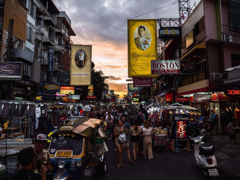 Khao San Road in Bangkok at dusk